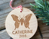 Butterfly Ornament, Butterfly, Rustic Butterfly Ornament, Personalized Butterfly Ornament