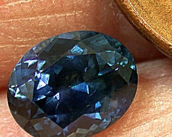 VINTAGE Blue SAPPHIRE Rock Creek Montana Faceted Loose GEMSTONE oval 1.67 cts fg44