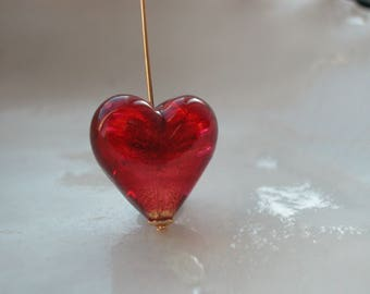 Red Glass Heart, Venetian Murano glass