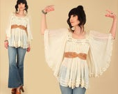 Vintage GAUZE Tunic 70's Cream Gauzy Cotton Angel Wing Top // Bell Sleeve // Boho Hippie Rocker Festival Goddess // Blouse Shirt s/m