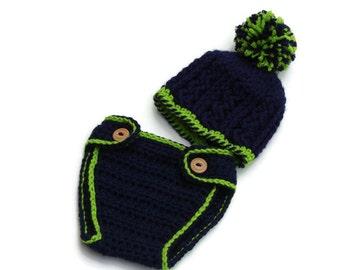 Crochet diaper cover, Baby diaper cover set, newborn diaper cover, newborn photo prop, baby boy  diaper cover, crochet baby hat, newborn hat