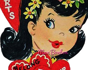 Vintage Valentine Card - 5x7 inches - Digital Image, Our Hearts Belong Together - Digital Clip Art - Instant Download - Retro Valentine