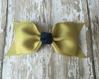 Gold and Navy Tuxedo Style Toddler Hair Bow Ga Tech Inspired Hair Bow Georgia Tech Inspired Hairbow 3 Inch Alligator Clip Hairbow