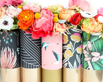 Pattern Wrapped Flower Vase - Palm Leaf, Floral, and Flamingo's with Gold and Rose Gold Accents