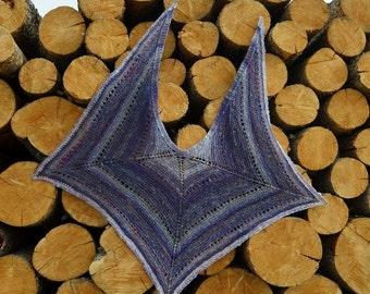 February Sale Post Apocalyptic MANTA Shawl - Handknit in Handspun Yarn, Slight Sparkle, Purple, Grey, Pink, Luxe Merino Wool, Bamboo. Wearab