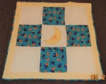 moon applique baby quilt nemo dori fish baby blanket toddler quilt chenille cotton flannel REVERSIBLE