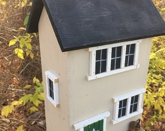 ON SALE Primitive Birdhouse Folk Art Rustic Country Colonial Beige Salt Box Garden Patio