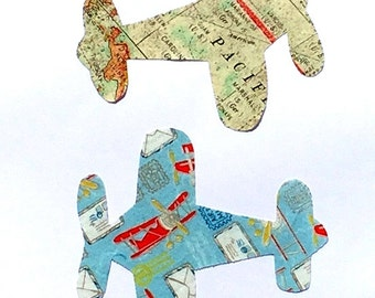 Airplane //Fabric Iron On Applique//Two Designs Available