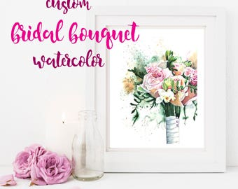 Wedding bouquet or wedding gown painting from your photos.  Original custom painting