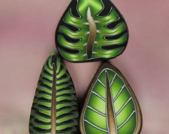 Set of 3 Green Polymer Clay MINI Leaf Canes -'Jungle Journey' series (33bb)