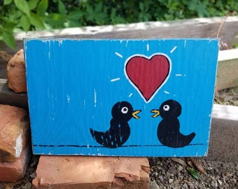 Love Birds Folk Art on Wood