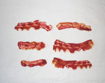 Bacon Iron on Patches Applique DIY No Sew Food Geekery