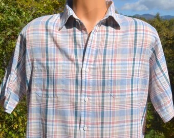 vintage 80s shirt PLAID blue short sleeve button down campus hipster Large Medium arrow 70s