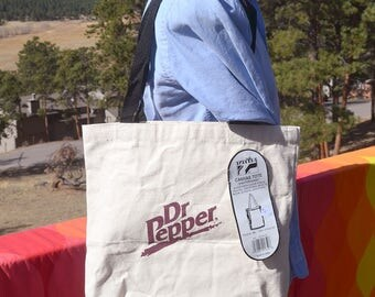 vintage 80s tote bag DR. PEPPER soda soft drink nwt new with tags canvas deadstock