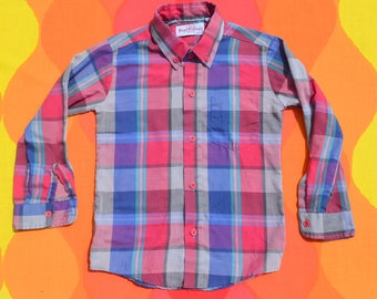 vintage 80s kid's shirt PLAID pink blue button down size 7 royal knight preppy