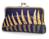 Bracken clutch bag, silk purse, fern frond, woodland wedding, bridesmaid gift