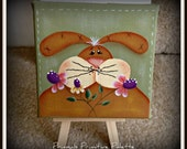 Spring Bunny 4x4 Wrapped Canvas-Easel-Home Decor Decoration-Hand Painted