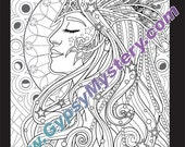 Single Coloring Page - Night from the Magical Beauties Collection - Download, Print & Color!