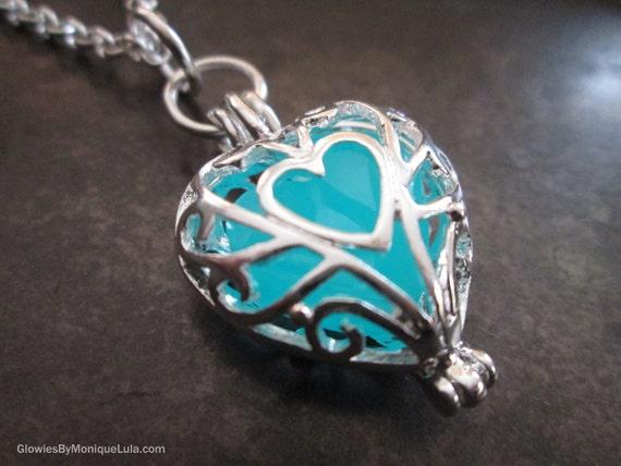 Frozen Glowing Heart necklace, Glow Jewelry, Glow Necklace, Heart of Glow Pendant, Glow in the Dark Glowies by Monique Lula, Magical Mystic