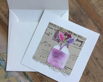 Coral and Amethist in a jar  hand painted watercolor mixed media greeting card with stitchery and
