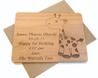 Giraffe Wooden Baby Card - Baby Gift Keepsake Personalized