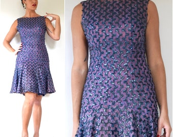 SUMMER SALE/ 30% off Vintage 60s Violet Mesh Lace Sequined Party Dress (size small, medium)