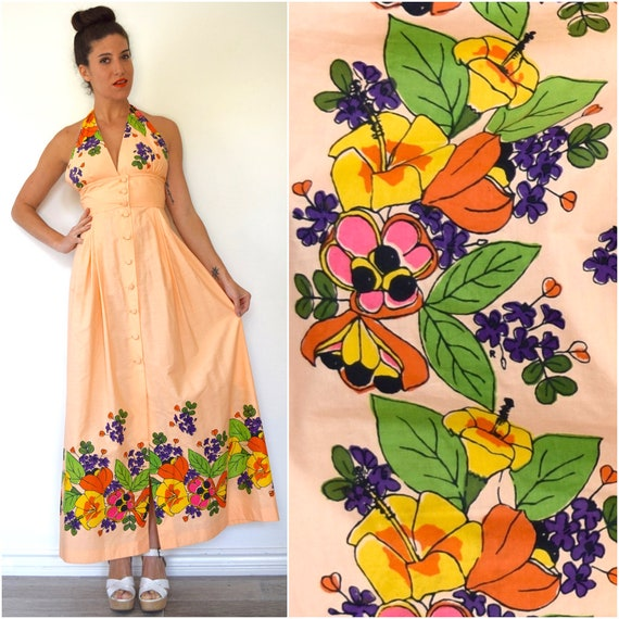 SPRING SALE/ 20% off Vintage 60s 70s Peach Floral Silk Screened Halter Back Maxi Dress (size small)