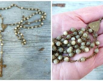 RESERVERD to Kristen  motherofpearl seashell rosary Antique 1900  dizainier christianity Holy communion