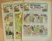 3 French girl magazine // 1935 // La Semaine de Suzette Magazine //  pattern