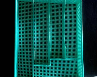 Aqua Silverware Utensil Tray Plastic Turquoise Grid Mesh Flatware Divided Office Organizer