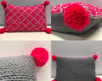 Trendy Hand Knitted Neon Throw Pillow