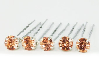 Rose Gold Peach Rhinestone Hair Pins Set of 5