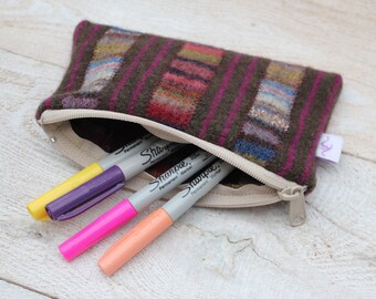Felted Wool Pouch  Pencil Case Cosmetic Case Change Purse in Jewel Tones
