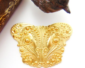 Closeout * BRASS Victorian Ornate Scroll Cartouche Stamping ~ Jewelry Findings  (C-804)