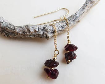 Red Garnet Earrings Little Drops Gold Dangles Chain Earrings January Birthstone Jewelry Anniversary Gift for Her Bridal Bridesmaids