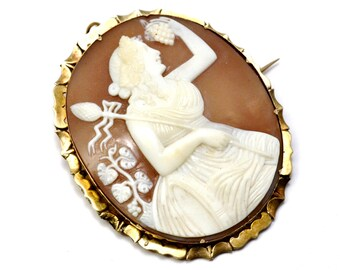 Antique Victorian large 10k gold framed Dionysus/Ariadne carved shell cameo pendant brooch pin