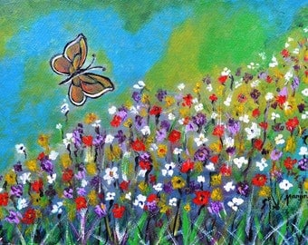 Butterfly Meadow a colorful abstract landscape wall art home decor painting on SALE by artbymanjiri