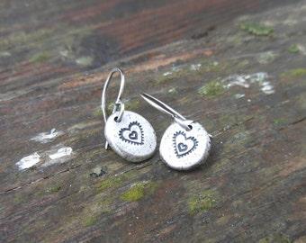 Stamped Southwestern Heart Earrings