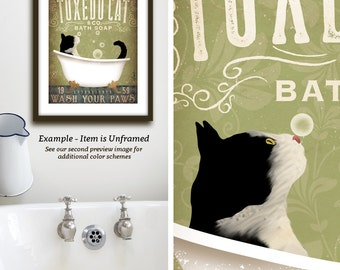 Tuxedo Cat bath soap Company vintage style artwork by Stephen Fowler Giclee Signed Print