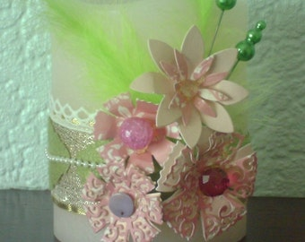 Decorated, electronic, battery operated, flame-less wax pillar candle