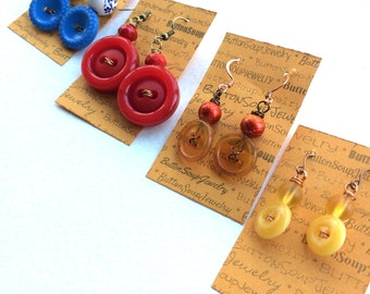 Gift Set - Four Pairs of Vintage Button Earrings