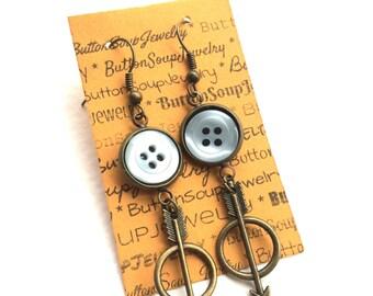 Funky Arrow Brass Metal Vintage Button Dangle Earrings Light Blue