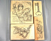 "Stampin' Up ""Nostalgic"" Romantic Rubber Stamps, 2004 Never Used, Heart Necklace, Pansies, Key, Collage, Original Plastic Clamshell Holder"