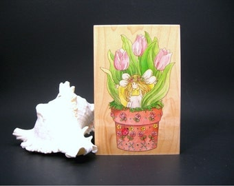 Wood Rubber Stamp, Garden Fairy in Tulips, New Old Stock, Stamps Happen Inc, Linda Grayson, Large 3.5 by 5 Inches