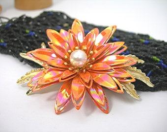 "Iridescent Orange Flower Brooch, Vintage 1970 Era Enameled Metal Dimensional Layered Flower Power Brooch, Statement Jewelry Over 3"", Minty"