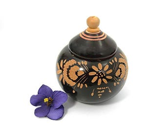 Vintage Wood Lidded Trinket Box, Chocolate Brown Exterior, Hand Carved Floral Design, Use to Store Small Items, Display in a Collection