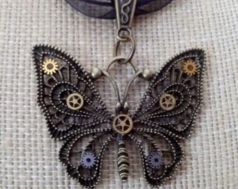 Steampunk Butterfly Cog & Gear Choker Pendant Ln383, Nautical, 20,000 Leagues, Nemo, Futuristic, Apocalyptic, Mideivil, Bug Wings   by Lynn
