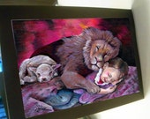 greeting card childhood  peace lion and the lamb sleeping