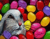 original art  aceo drawing Easter bunny too many jelly beans
