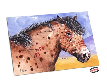 Horse Art Print Nez Perce Indian War Pony Bay Leopard Appaloosa Western Horse Art ACEO Print Horse Lover Gift Equine Art by Denise Every